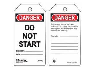 DO NOT START SAFETY TAG 1 EA