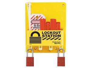 CIRCUIT BREAKER LOCKOUT CENTER WITH 3 RED STEEL PADLOCK 1 EA