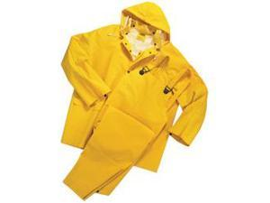 Rain Suit , 3-Piece, PVC Polyester, 0.3500 Millimeters Thick, Large, Yellow 1 EA