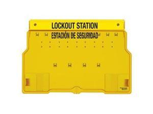 SPANISH ENGLISH 10 PADLOCK STATION WITH COVER. UNFILLED. 1 EA