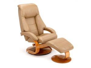 Mac Motion Sand Leather-Swivel, Recliner with Ottoman