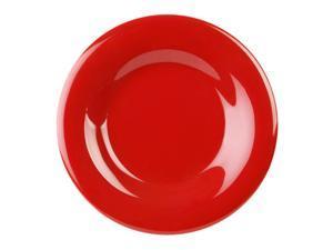 Excellante Crimson Melamine Collection 10-1/2-Inch Wide Rim Round Plate, Pure Red - Dozen