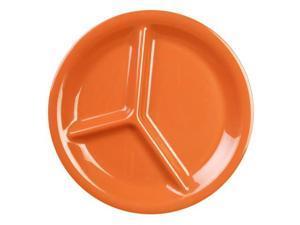Excellante Adobe Melamine Collection 10-1/4-Inch Three Compartment Plate, Orangish Red - Dozen