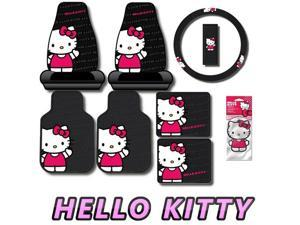 8pc Waving Hello Kitty Car Interior Gift Set with 4pc Floor Mats 2pc Seat Covers Steering Wheel Cover and Air Freshener