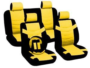 Yellow & Black Two Tone PU Low Back Synthetic Leather Seat Covers with Steering Wheel & Seat Belt Pads