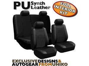 Solid Black Faux Leather Low Back Synth Leather Seat Covers with Steering Wheel & Seat Belt Pads