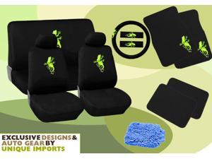 Gecko Seat Covers & Floor Mats Set – 15pc w/ BONUS Wash Mitt