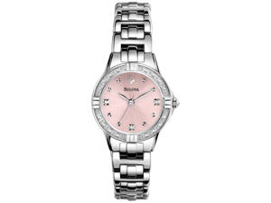 Bulova Diamond Pink Dial Stainless Steel Ladies Watch 96R171