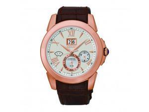 Seiko Kinetic White Dial Brown Leather Mens Watch SNP068