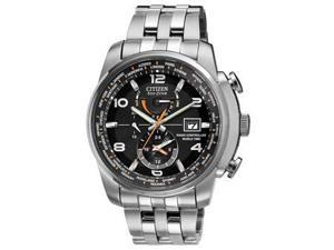 Citizen Eco Drive Black Dial Stainless Steel Mens Watch AT9010-52E
