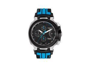 Tissot Race Chrono Black Dial Black & Blue Silicone Rubber Watch T0484272705702