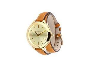 Michael Kors Runway Champagne Dial Tan Leather Ladies Watch MK2256