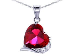 """Mabella Fashion PWS015CR 6.06 CTW Heart Shaped 12mm x 12mm Created Ruby Pendant - Sterling Silver with 18"""" Chain"""