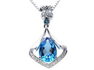 "Mabella PWS008CT 3.05 cttw Pear Shaped 8mm x 11mm Created Blue Topaz in Sterling Silver Pendant with 18"" Chain"