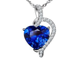 "Mabella Fashion PWS004CBS 4.10 cttw Heart Shaped 10mm x 10mm Created Blue Sapphire Pendant in Sterling Silver with 18"" Chain"