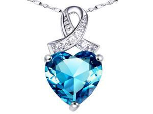 "Mabella PWS001CT 6.06 cttw Heart Shaped 12mm x 12mm Created Blue Topaz in Sterling Silver Pendant w/ 18"" Chain"
