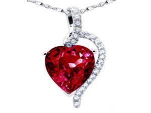 "Mabella PWS004CR 4.10 cttw Heart Shaped 10mm x 10mm Created Ruby Pendant in Sterling Silver w/ 18"" Chain"