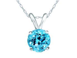 "Mabella 0.80 CTW Round Cut 6mm Natural Genuine Blue Topaz Pendant in 14k Solid White Gold with 16"" Chain"