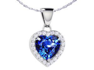 "Mabella 1.62 cttw Heart Shaped 7mm x 7mm Created Blue Sapphire pendant in Sterling Silver with 18"" Chain"