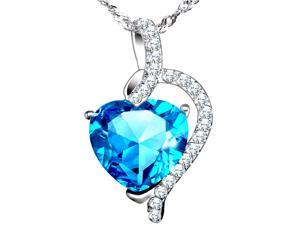 "Mabella .925 Sterling Silver 4.10 Cttw (10mm*10mm) Heart Cut Created Blue Topaz Pendant with 18"" Chain"