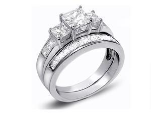 Mabella 3.31Cttw Women's Princess Cut .925 Sterling Silver Wedding Ring Set