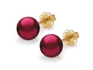 Mabella Freshwater Cranberry Red Pearl Studs Earrings - 7-7.5mm AAA Quality, 14K Yellow Gold