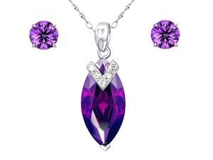 "Mabella Created Amethyst Pendant & Earring Set in Sterling Silver with 18"" Chain"