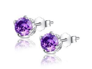Mabella 1.0 CTTW. 5mm Round Cut Created Amethyst .925 Sterling Silver Stud Earrings