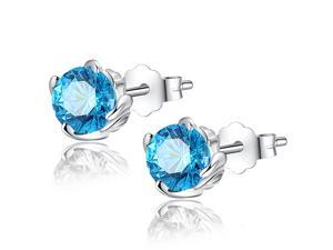 Mabella 1.0 CTTW. 5mm Round Cut Created Blue Topaz .925 Sterling Silver Stud Earrings