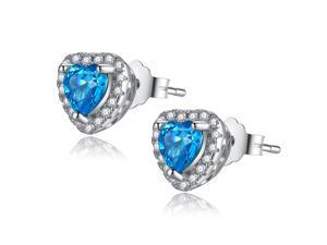 Mabella 1.0 CTTW. 5mm Heart Created Blue Topaz .925 Sterling Silver Stud Earrings