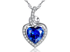 "Mabella 2.0cttw Heart Shaped 8mm x 8mm Created Blue Sapphire Pendant in Sterling Silver with 18"" Chain"