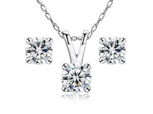 "Mabella 14k Solid White Gold 0.45 cttw Round Cut Diamond Pendant and Earring Jewelry Set with 18"" Chain"
