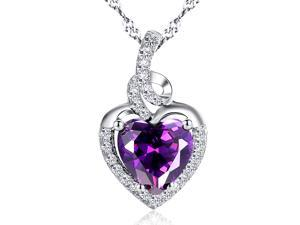 """Mabella 2.0cttw Heart Shaped 8mm x 8mm Created Amethyst Pendant in Sterling Silver with 18"""" Chain"""