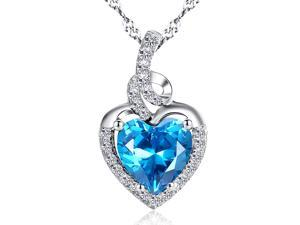 "Mabella 2.0cttw Heart Shaped 8mm x 8mm Created Blue Topaz Pendant, 18"" Chain Sterling Silver"