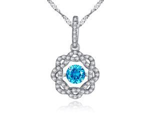 "Mabella Sterling Silver 0.50ct Round Cut Created Blue Topaz Dancing Pendant with 18"" Chain"