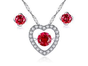 Mabella Sterling Silver 0.50ct Round Cut Created Ruby Heart Shape Dancing Pendant and Earring Set