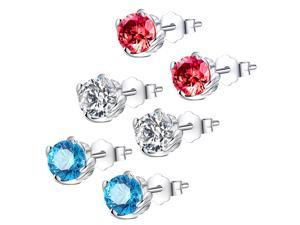 Mabella 3 Sets (Colors) 1.0 CTTW. 5mm Round Cut .925 Sterling Silver Stud Earrings