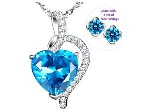 """Mabella Beauty Heart Cut Created Blue Topez Sterling Silver 18"""" Pendant with free earrings set"""