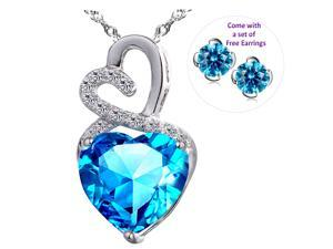 """Mabella 4.0cttw Heart Shaped 10mm Created Ruby Pendant in Sterling Silver with 18"""" Chain with free earrings set"""