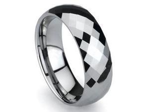 Mabella Fashion Prism 8mm Tungsten Carbide Brushed Polished Shiny Men's Wedding Ring