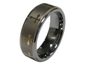 Men Popular Gold Tone Cross Symbol 8mm Tungsten Carbide Ring