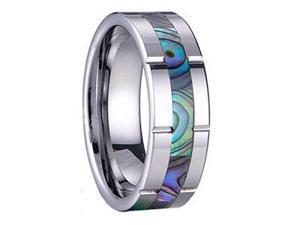 Sea Shell Inlay Tungsten Carbide 8mm Mens Wedding Bands Ring
