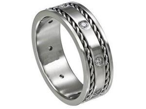 Eight CZ Stainless Steel 8mm Mens Wedding Bands Ring Silver Tone