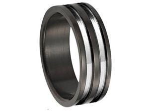 Two Parallel Stripe Stainless Steel 8mm Mens Wedding Bands Ring