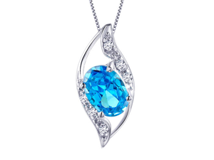 """Mabella 0.78 Cttw Oval Cut 7mm*5mm Created Blue Topaz Pendant Sterling Silver with 18"""" Chain"""