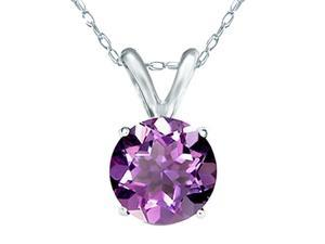 Mabella 0.80cttw Round Cut 6mm Natural Genuine Amethyst Pendant in 14k Solid White Gold with Chain