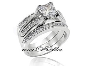 Mabella 3 Pcs Women's 2.55Ct Princess Cut Sterling Silver Wedding Ring Band Set