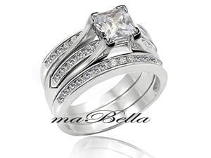 Mabella 3 Pcs Women's 2.55Ct Princess Cut Sterling Silver Wedding Ring Band Set