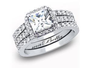Mabella 3 Pcs Women's Princess Cut .925 Sterling Silver Wedding Engagement Ring Set
