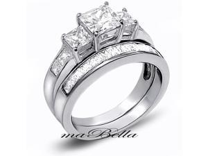 Mabella 3.31Cttw Women's Princess Cut 925 Sterling Silver Wedding Ring Set